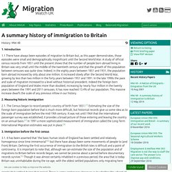 MW48 : A summary history of immigration to Britain