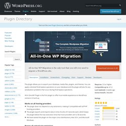 All-in-One WP Migration — WordPress Plugins