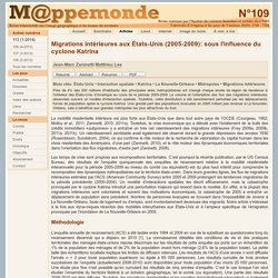 Migrations intérieures aux États-Unis (2005-2009): sous l'influence du cyclone Katrina