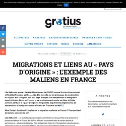 Migrations et liens au « pays d'origine » : l'exemple des Maliens en France - Grotius International
