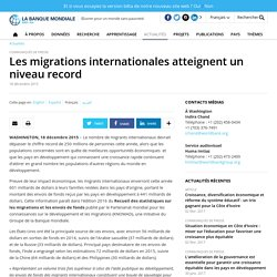 Les migrations internationales atteignent un niveau record