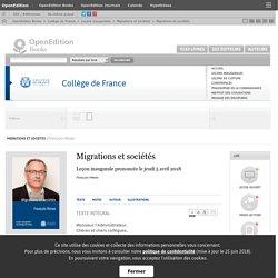 Migrations et sociétés - Migrations et sociétés - Collège de France