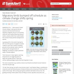 Migratory birds bumped off schedule as climate change shifts spring