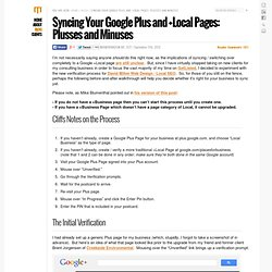 Syncing Your Google Plus and +Local Pages: Plusses and Minuses