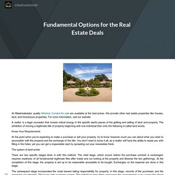 Fundamental Options for the Real Estate Deals