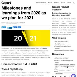 Milestones and learnings from 2020 as we plan for 2021