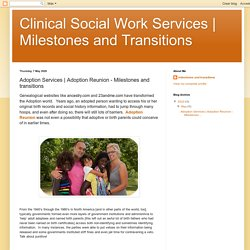 Milestones and Transitions: Adoption Services