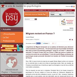 Milgram revient en France ?