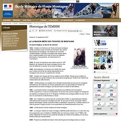 L'Ecole Militaire de Haute Montagne (EMHM) de Chamonix / Historique de l'EMHM