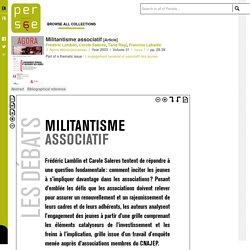 Militantisme associatif - Persée