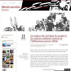 La culture du viol dans la société et les milieux militants (article de l'Ultimatum janvier 2014)