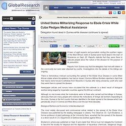 United States Militarizing Response to Ebola Crisis While Cuba Pledges Medical Assistance