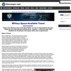 Military Space Available - Space A Travel / AMC Flights