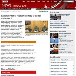 Egypt unrest: Higher Military Council statement