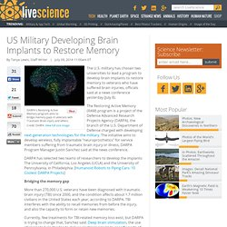 US Military Developing Brain Implants to Restore Memory