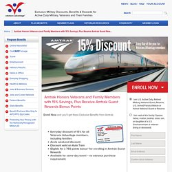 Amtrak 15% Military Veteran Discount Code