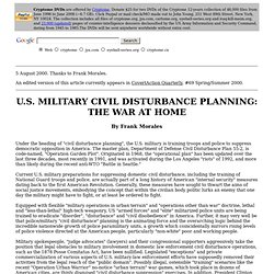 U.S. Military Civil Disturbance Planning: The War at Home