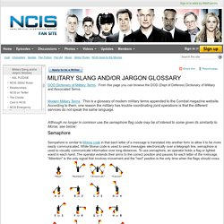 Military Slang and/or Jargon Glossary - NCIS
