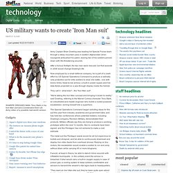 US military wants to create 'Iron Man suit'