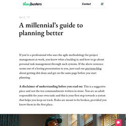 A millennial's guide to planning better