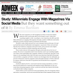 Study: Millennials Engage With Magazines Via Social Media, but They Want Something Out of It