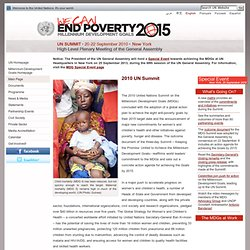 We Can End Poverty, Millennium Development Goals, 2015: UN Summit, 20-22 September 2010, New York