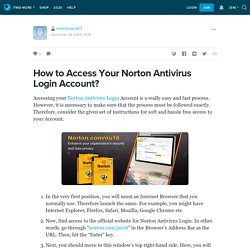 How to Access Your Norton Antivirus Login Account?: millerjessica03 — LiveJournal