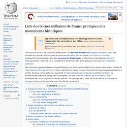Liste des bornes milliaires de France protégées aux monuments historiques