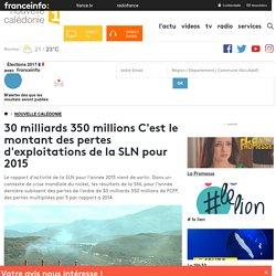 30 milliards 350 millions C'est le montant des pertes d'exploitations de la SLN pour 2015 - nouvelle calédonie 1ère