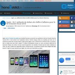 Apple : 42,1 milliards de dollars de chiffre d'affaires pour le 4e trimestre fiscal 2014