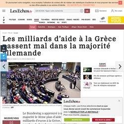 Les milliards d'aide à la Grèce passent mal dans la majorité allemande, Europe