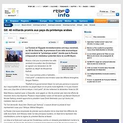 G8: 40 milliards promis aux pays du printemps arabes