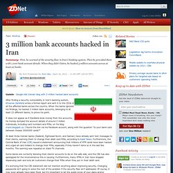 3 million bank accounts hacked in Iran