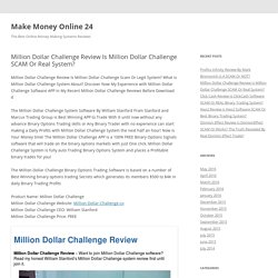 Million Dollar Challenge Review Is Million Dollar Challenge SCAM Or Real System?