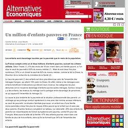 Un million d'enfants pauvres en France