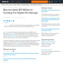 Box.net Adds $7.1 Million In Funding For Digital File Storage