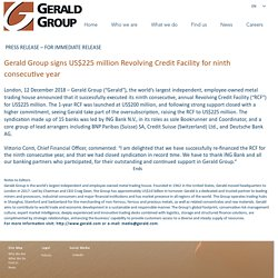 Gerald Group Signs US$225 Million Revolving Credit Facility