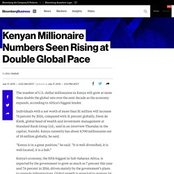 Kenyan Millionaire Numbers Seen Rising at Double Global Pace