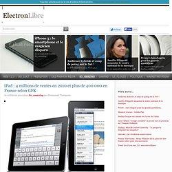 iPad: 4 millions de ventes en 2010 et plus de 400 000 en France