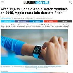 Avec 11,6 millions d'Apple Watch vendues en 2015, Apple reste loin derrière Fitbit
