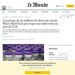 Le partage de 10millions de doses du vaccin Pfizer-BioNTech provoque une mini-crise au sein de l'UE