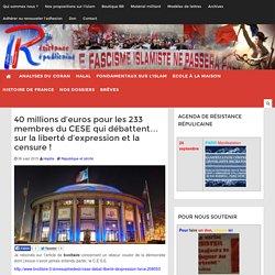 40 millions d'euros pour les 233 membres du CESE qui débattent... sur la liberté d'expression et la censure