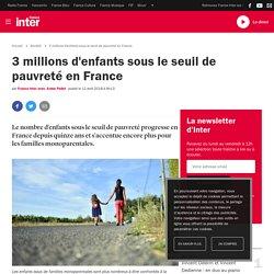 3 millions d'enfants sous le seuil de pauvreté en France