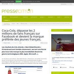 Coca-Cola, dépasse les 2 millions de fans français sur Facebook et devient la marque préférée des jeunes français.