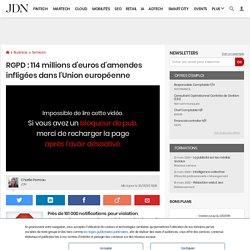 RGPD: 114millions d'euros d'amendes infligées dans l'Union européenne