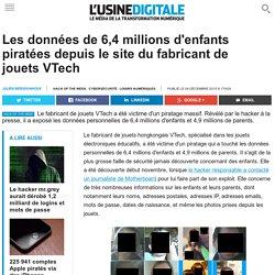 Les données de 6,4 millions d'enfants piratées depuis le site du fabricant de jouets VTech