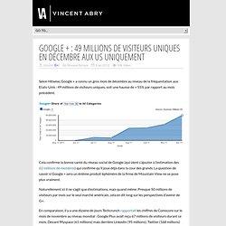Google + : 49 millions de visiteurs uniques en décembre aux US uniquement