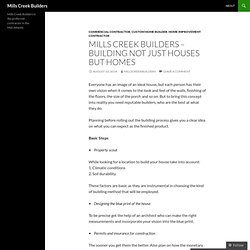 Mills Creek Builders – building not just houses but homes