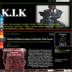 Milton William Cooper's Behold a Pale Horse - K.I.K