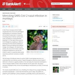 EUREKALERT 12/11/20 Mimicking SARS-CoV-2 nasal infection in monkeys
